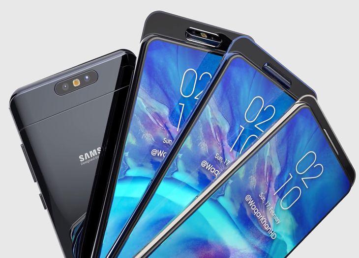 Wizualizacja smartfonu Samsunga z wysuwanym i obracanym aparatem