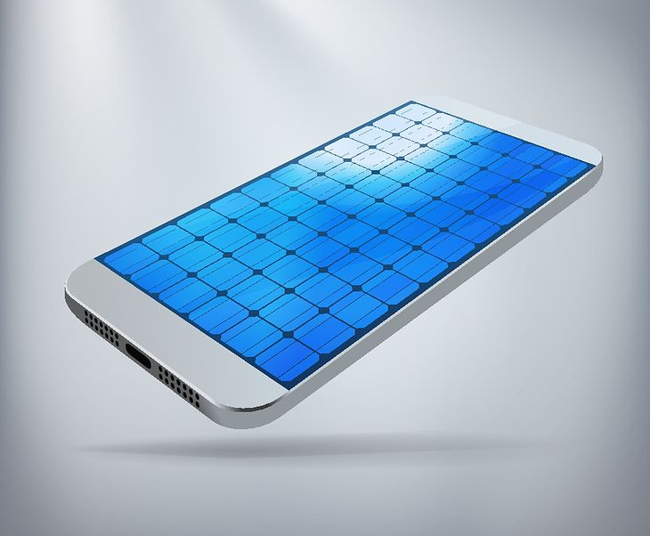 Zmodyfikowane zdjęcie Solar Powered Smartphone Concept. Silver smartphone with screen made of solar panels. Layered file for ease of customization. Fully scalable vector illustration.