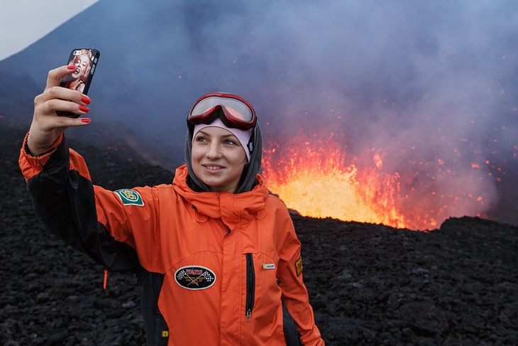 Selfie z wulkanem