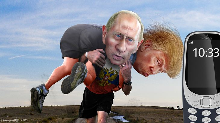zmodyfikowana karykatura Trumpa i Putina