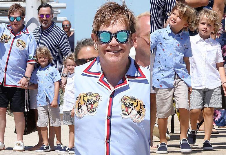 2Elton John z rodziną w Saint-Tropez