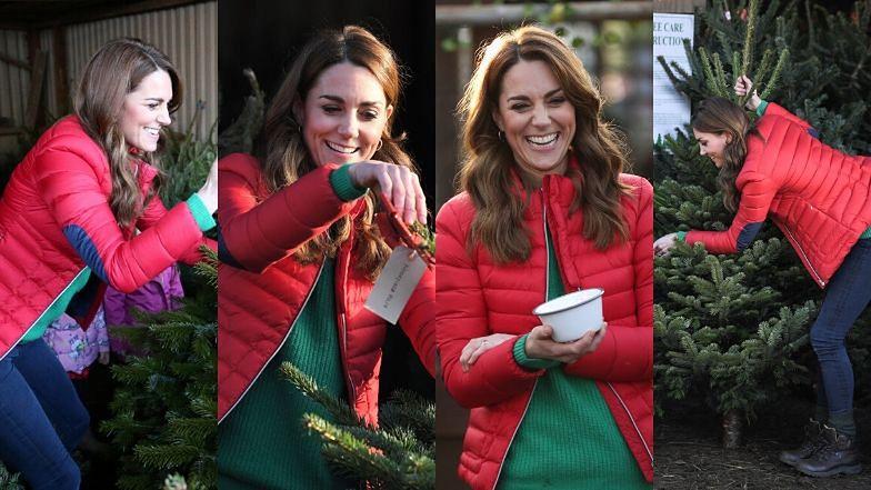 Roześmiana Kate Middleton rozdaje potrzebującym choinki