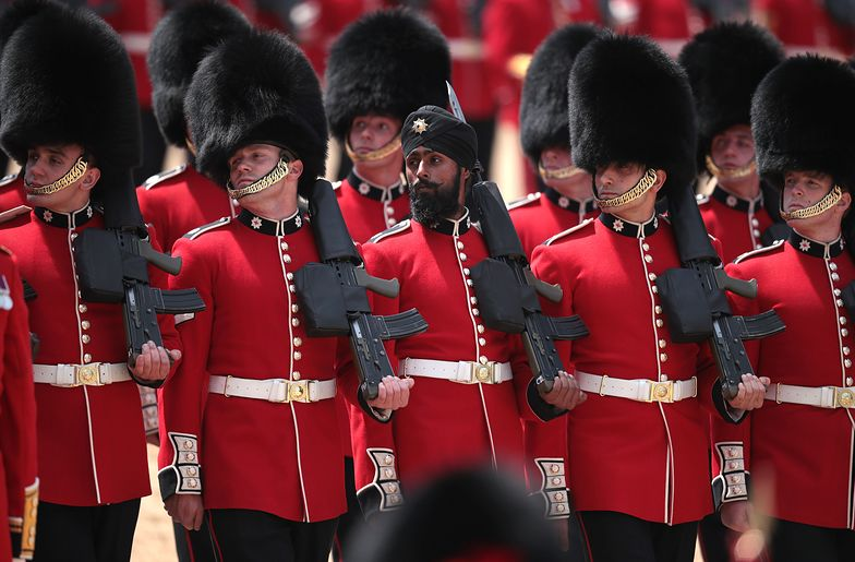 <<enter caption here>> at The Royal Horseguards on June 9, 2018 in London, England. The annual ceremony involving over 1400 guardsmen and cavalry, is believed to have first been performed during the reign of King Charles II. The parade marks the official birthday of the Sovereign, even though the Queen's actual birthday is on April 21st.