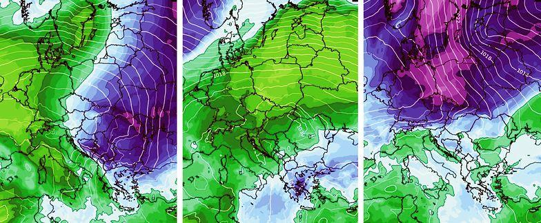 Już w środę ociepli się na północnym zachodzie (zielony kolor po lewej), ale po kilku cieplejszych dniach w sobotę znów zrobi się chłodniej (fiolet po prawej)