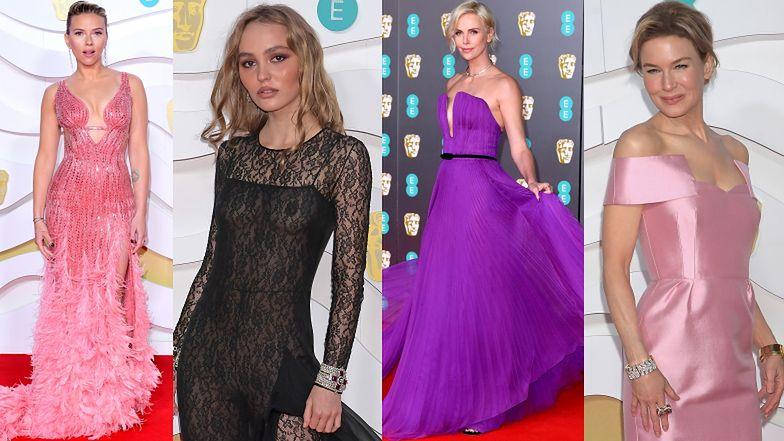 BAFTA 2020: biust Lily-Rose Depp w prześwitującym kombinezonie, jedwabna Renee Zellweger i Charlize Theron w fiolecie