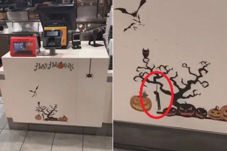 Klient McDonald's w Massachusetts był oburzony naklejką przedstawiającą wisielca.