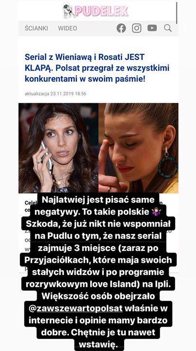 """Julia Wieniawa jest zbulwersowana naszym artykułem o klapie serialu """"Zawsze warto"""": """"TO TAKIE POLSKIE"""""""