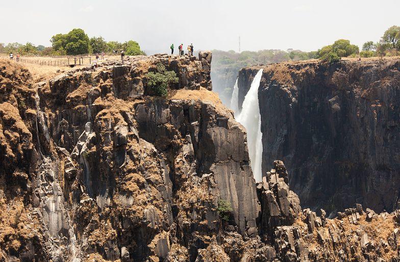 Victoria Falls eastern cataract Mosi-oa-Tunya in dry season Livingstone, Zambia