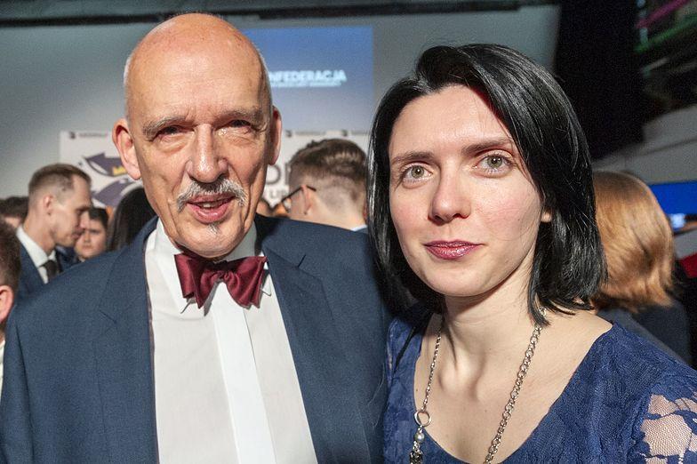 Dominika Korwin-Mikke z mężem