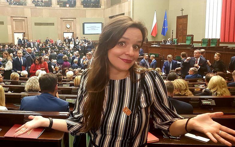 Świeżo upieczona posłanka Klaudia Jachira podsumowuje swój pierwszy dzień w Sejmie.