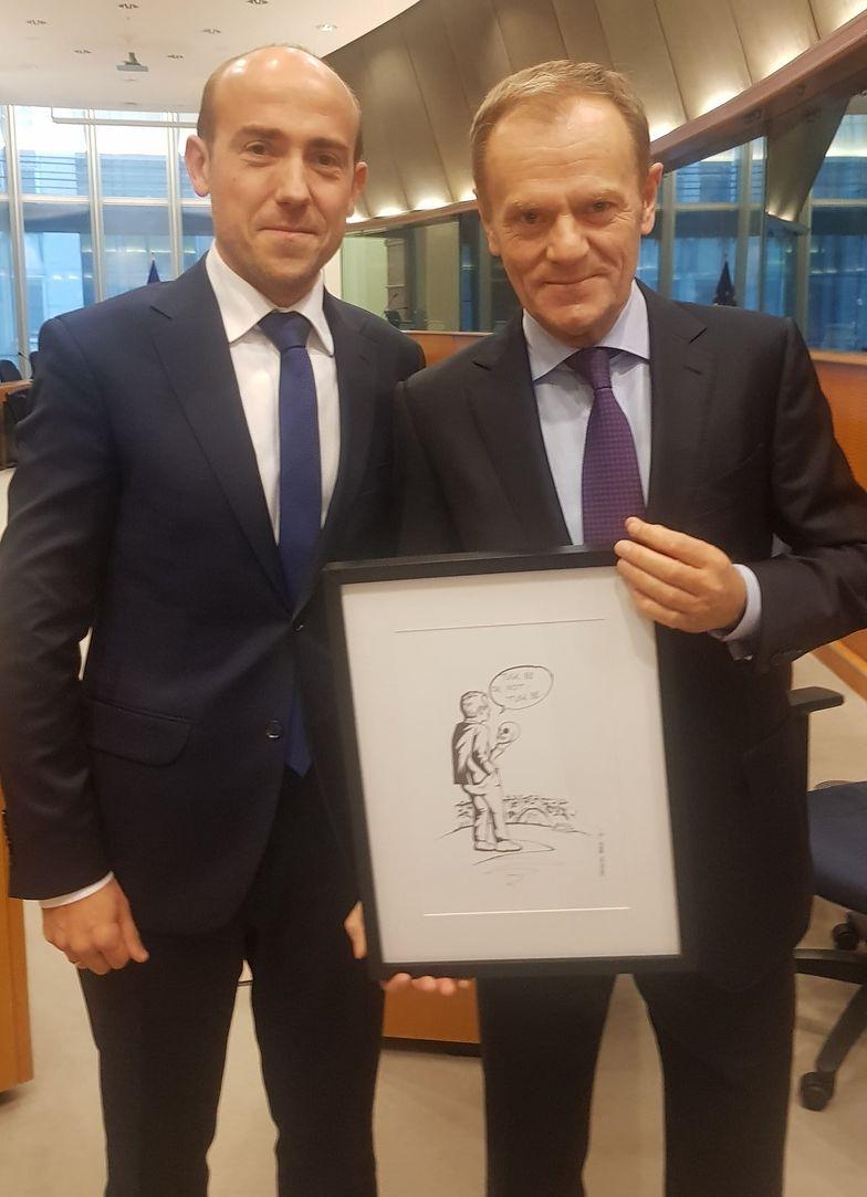 Bruksela. Borys Budka (L) oraz Donald Tusk