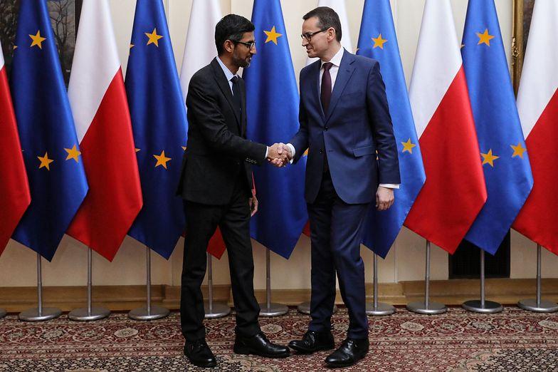 Sundar Pichai i Mateusz Morawiecki przed spotkaniem