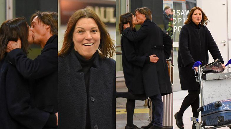 Namiętny pocałunek Ilony Felicjańskiej i Paula Montany na warszawskim lotnisku