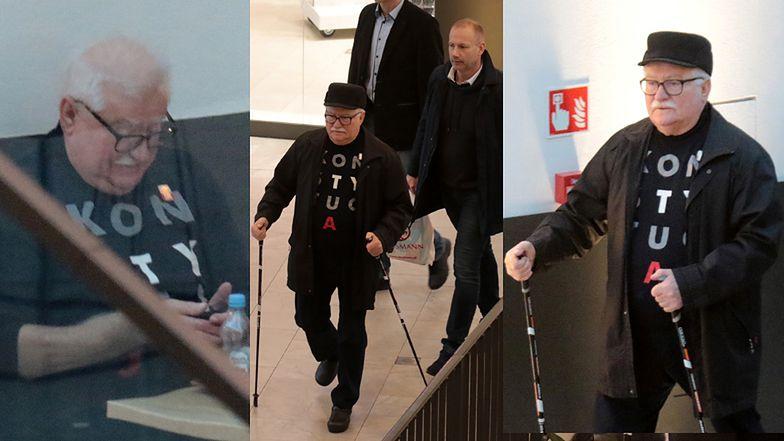 Lech Wałęsa kupuje z zięciem pieluchy i popija kawkę w centrum handlowym