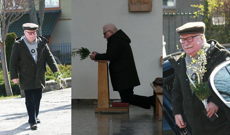 Lech Wałęsa spędza Niedzielę Palmową w kościele
