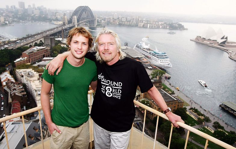 Richard Branson i Sam Branson w Australii