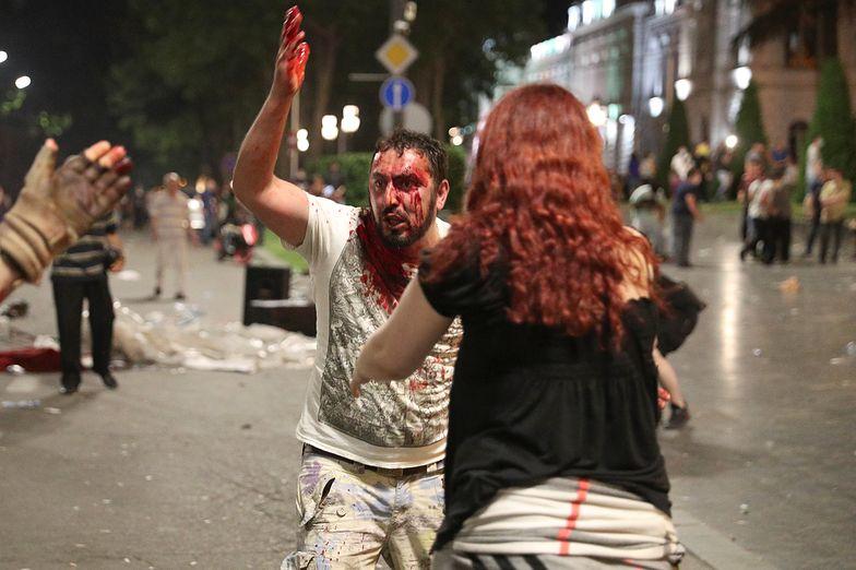 W starciach w Tbilisi rannych zostało co najmniej 100 osób, w tym 39 policjantów.