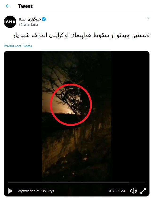 Iran. Samolot Boeing 737 rozbił się po starcie. Jest nagranie