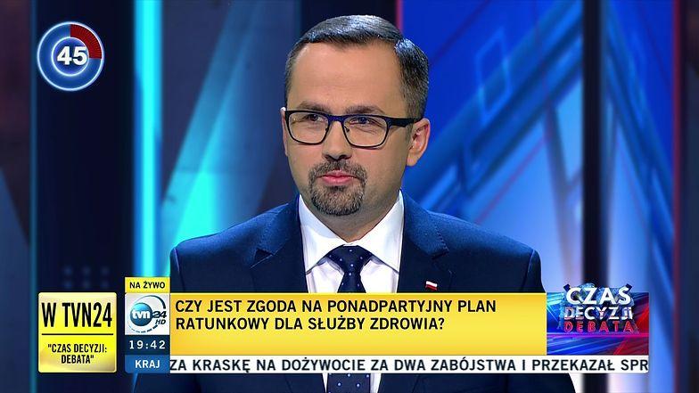 Marcin Horała - przedstawiciel PiS-u w debacie wyborczej w TVN24.