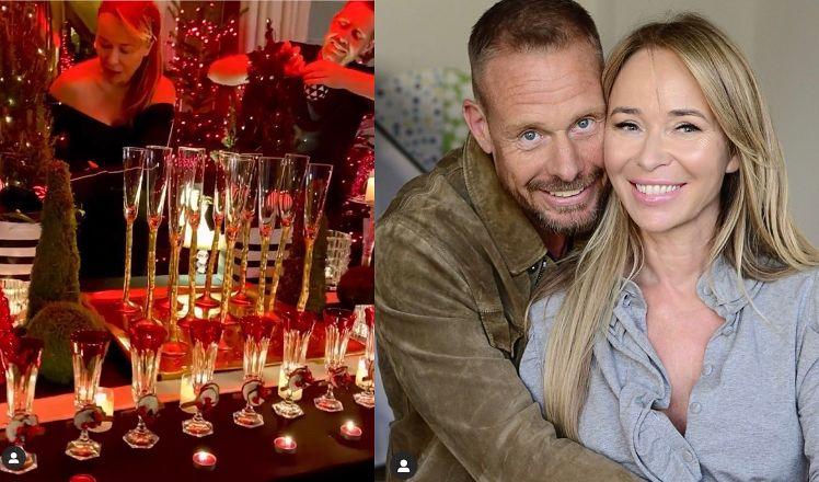 """Zakochani Joanna Przetakiewicz i Rinke Rooyens słodzą sobie przy świątecznym stole. Fani: """"TAKA MIŁOŚĆ SIĘ NIE ZDARZA"""""""