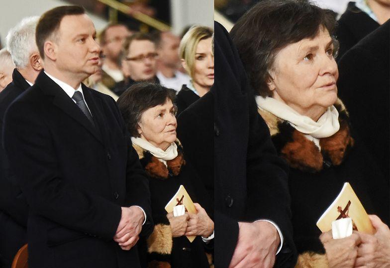 Andrzej Duda z matką na intronizacji Jezusa na króla Polski
