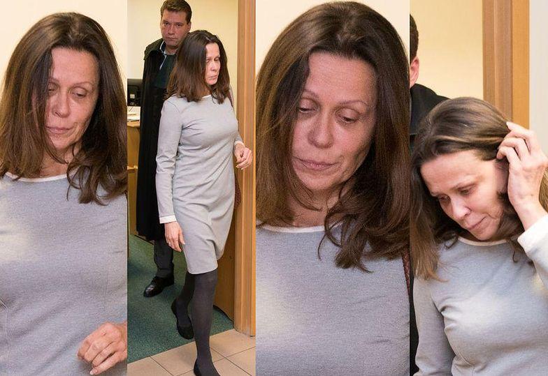 Smutna i zmęczona Anita Grabowska w sądzie