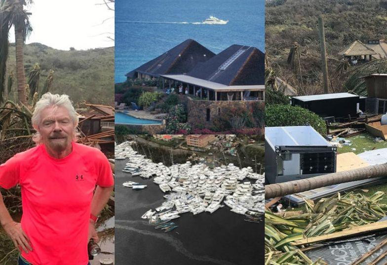 Richard Branson pozuje na tle zniszczeń spowodowanych przez huragan Irma