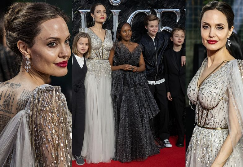 """Zjawiskowa Angelina Jolie z dziećmi EKSPONUJE WYTATUOWANE PLECY na kolejnej premierze """"Czarownicy"""""""