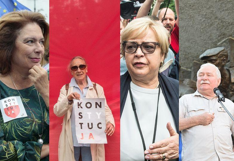 Komorowska, Żakowski, Wałęsa, Budka, Rzepliński, Nowacka i inni na proteście przed Sądem Najwyższym