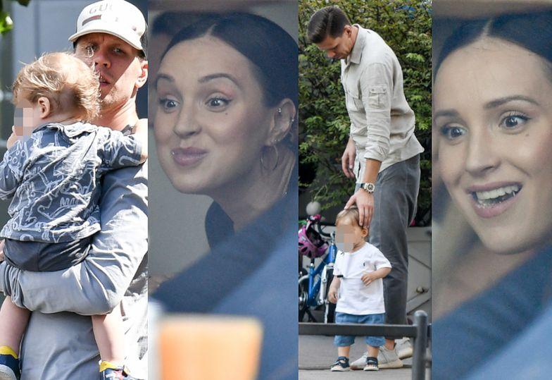 Marina Łuczenko-Szczęsna z mężem i synem w restauracji
