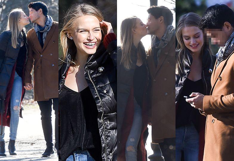 """Rozanielona Karolina Pisarek z """"Top Model"""" całuje się z chłopakiem na romantycznym spacerze"""