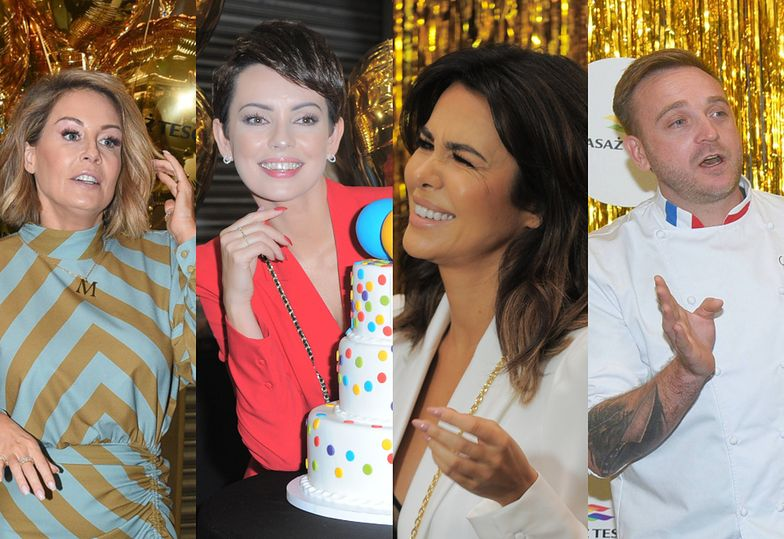 Roześmiane celebrytki wdzięczą się do tortu na 20. urodzinach Pasażu Tesco