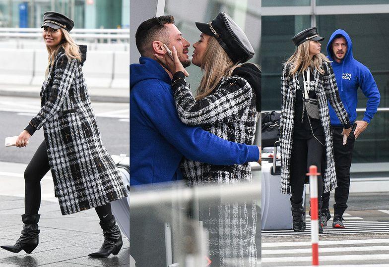 Zakochana Sandra Kubicka WYLEWNIE wita się z narzeczonym na lotnisku