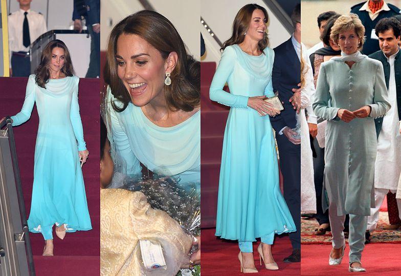 Księżna Kate wita Pakistan w błękitnej kreacji nawiązującej do stroju księżnej Diany