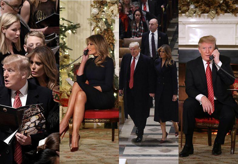 Zaangażowani Donald i Melania Trump telefonują z dziećmi i śpiewają w kościele