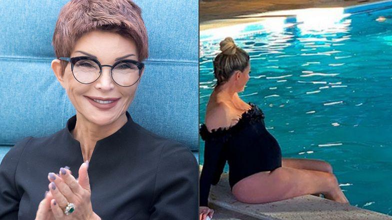 """Małgorzata Rozenek pozuje przy basenie. Ewa Minge radzi: """"Cudownie się pływa na plecach i nawet nie trzeba się ruszać"""" (FOTO)"""