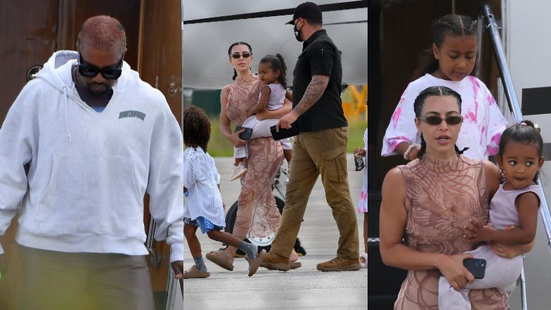 Posągowa Kim Kardashian w towarzystwie KANYE WESTA i dzieci opuszcza prywatny samolot na lotnisku w Malibu (ZDJĘCIA)