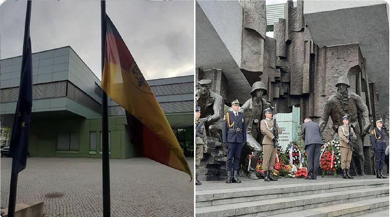 """Flaga Niemiec opuszczona do połowy masztu. """"Na znak głębokiego bólu i wstydu"""""""