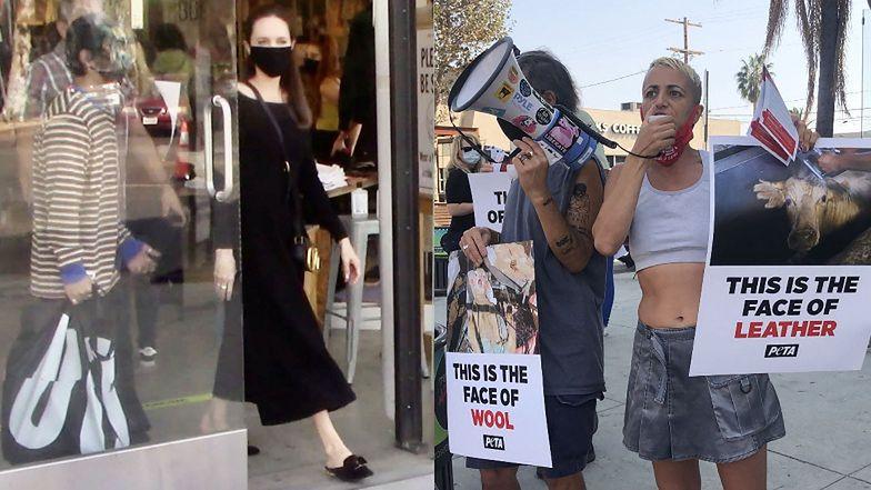 Angelina Jolie cała w czerni robi zakupy z 16-letnim synem Paxem (ZDJĘCIA)
