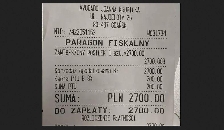 Paragon na 2,7 tys. zł zawisł w jednej z restauracji w Gdańsku.