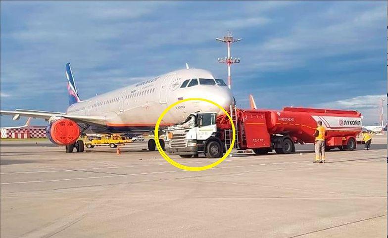 Wypadek na lotnisku w Moskwie. Cysterna z paliwem staranowała samolot