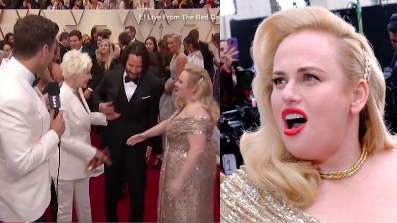 Oscary 2020: WPADKA Rebel Wilson na czerwonym dywanie. Matka Keanu Reevesa nie podała jej ręki (WIDEO)