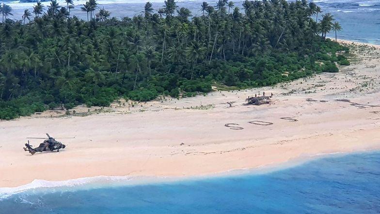 Rozbitkowie zabrani z bezludnej wyspy. Uratował ich napis na plaży