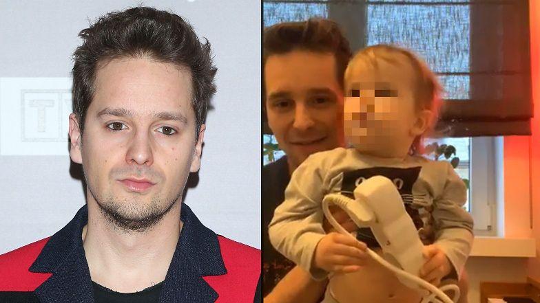 """Krzysztof Zalewski pokazał syna i narzeczoną podczas występu na żywo. """"A kuku!"""" (FOTO)"""