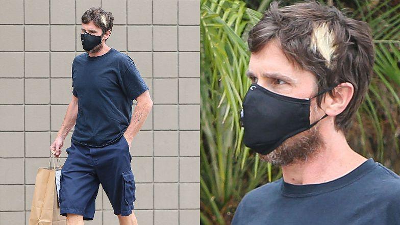 Christian Bale z blond pasemkiem na środku głowy odbiera jedzenie na wynos (ZDJĘCIA)