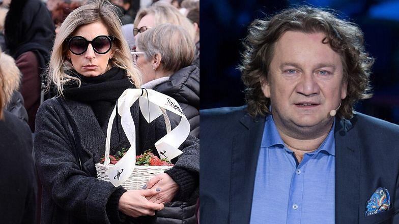 Magdalena Schejbal przyszła na pogrzeb Pawła Królikowskiego z koszem truskawek