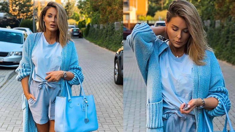 """""""Zadbana"""" Małgorzata Rozenek chwali się błękitną stylizacją. Internauta: """"O, świeże usta chyba, bo aż ODSTAJĄ"""" (FOTO)"""