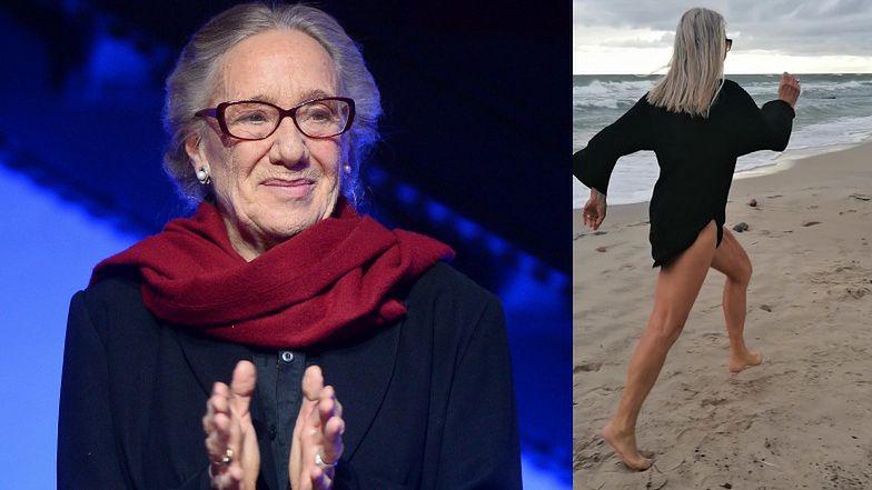 """82-letnia Maja Komorowska biega po plaży. """"Trzeba zebrać energię"""" (FOTO)"""