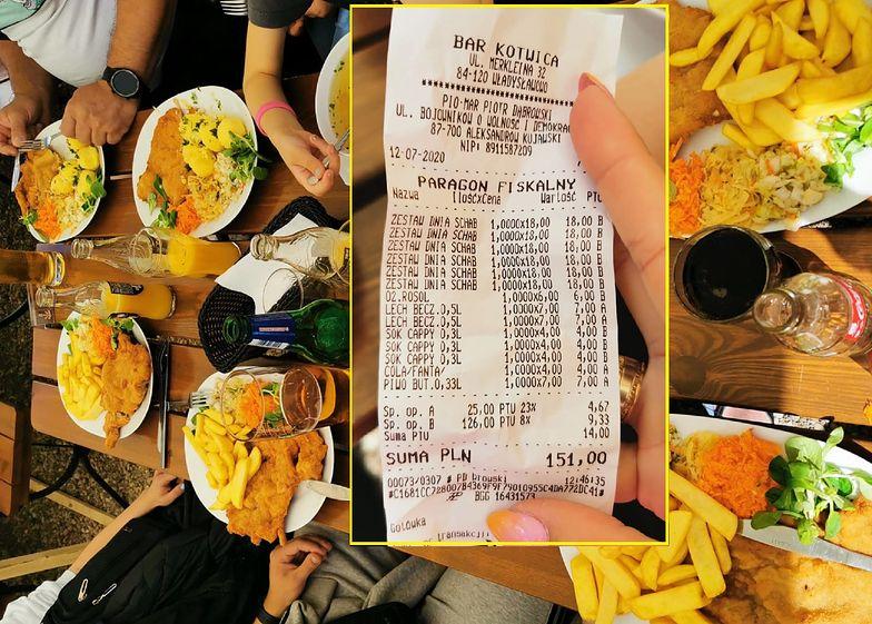 Paragon z Władysławowa zadziwia. Czytelnik pokazał cenę obiadu dla 7 osób