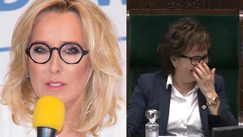 """Oburzona Agata Młynarska komentuje ŚMIECH Elżbiety Witek podczas obrad Sejmu: """"Jak Pani by się czuła jako mama zgwałconego dziecka?"""""""